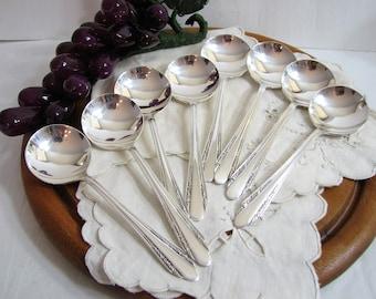 Silverplate Flatware Bouillon Spoons, Vintage Art Deco ROBERTA Round Bowl Broth Spoons, Set of 8 (Rare VGC), 1938, International Silver Co.