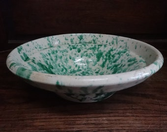 Vintage French large heavy pottery earthware confit green and white speckled bowl dish fruit display decor circa 1920's / English Shop