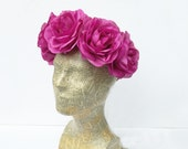 Mardi Gras Flower Crown - Mardi Gras Headpiece, Purple, Rose Flower Crown, Large Floral Crown, Rose Headpiece, Mardi Gras Costume, Fuchsia