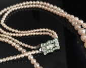 Vintage Faux Pearl Necklace Rhinestone Clasp