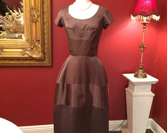 Vintage 50s Chocolate Silk Cocktail Dress S/M