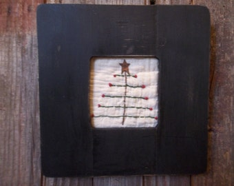 """Sweet Primitive Framed """"Feather"""" Tree in Painted Wood Frame - Winter/Holiday"""