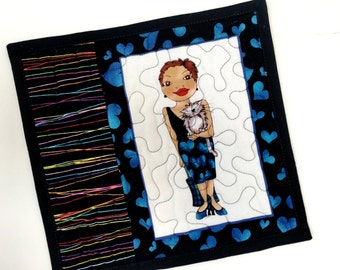 Quilted Cat Mug Rugs - Kitty Lovers Gift - Cute Mini Quilts - Blue & Black - BFF Gift - Travel Cat - Reversible Quilt Placemats Handmade