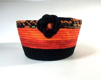 Coiled Rope Basket in Halloween Orange Black - Candy Corn Bowl  Autumn Fall Decor -  Organizer - Handmade Fiber Art Fabric Bowl  Sally Manke