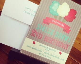 PRINTED Cotton Candy Carnival Birthday Party Invitations, set of 25