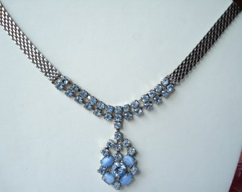 Vintage  Necklace  Blue Glass Beads and Rhinestones 1940's 1950's