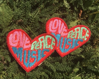Love, Peace & Music handmade heart patch, rock and roll, hippie, boho, festival, one-of-a-kind
