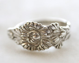 RARE Antique Sterling Silver Ring - November Chrysanthemum, 1910