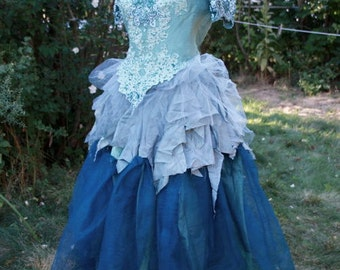 Adult Naiad Faerie Ensemble Sea Green Top + Skirt Fits Sizes 6 to 12 Hand-dyed One of a Kind for Cosplay, Fairy Wear Festivals, Weddings