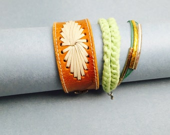Boho/Gypsy Bracelet, Genuine Leather Cuff, summer bracelet, brown/green, Hand Made in The USA, Item No. LB 001