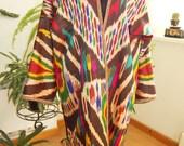 Uzbek women's dress vintage  colorful soft  100 % silk   ikat atlas chapan robe l size very beautiful rare color Reserved