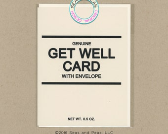 GENERIC GET WELL Card - Get Well Card - Get Well - Greeting Card - Funny Get Well - Generic - Card for Friend - Funny Card - Item# G009