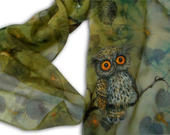 Cute owl, painted owl, printed leaves, batik, cute bird, green painted scarf, forest, cute animal,  Woodland, fairytale, nature series