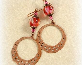 Pink Earrings, Copper Hoop Earrings with Fuchsia Pink Lampwork Glass Bead - Copper Large Dangle Earrings, Fuchsia Lampwork Earrings
