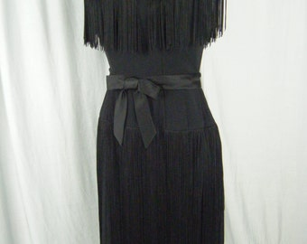 Neusteters Vtg 50-60s Black Flapper Style Fringes Dress & Bow-Bust 34/XS, make offers