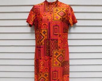 Mod 60's Psychedelic Geometric Tribal Print Shift Dress