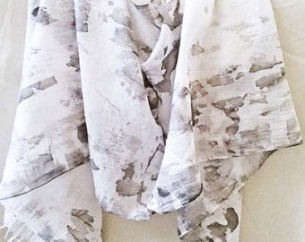 Black and Gray Scarf, Hand Painted Scarf, Watercolor Scarf, Charcoal Gray Scarf, Modern Scarf, Gray Cotton Scarf, Black and Gray Cotton