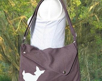 Holiday On Sale 10% off brown cotton canvas messenger bag / shoulder bag / deer messenger /diaper bag / fawn sewn