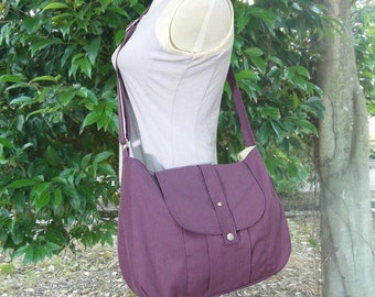 purple cotton canvas messenger bag / shoulder bag / everyday bag / diaper bag / cross body bag - 6 pockets