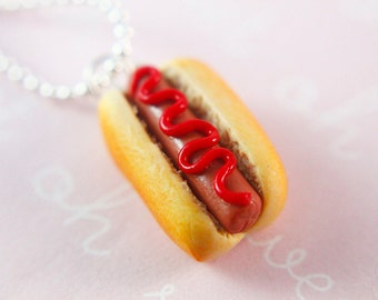 Food jewelry - Hot dog with ketchup necklace