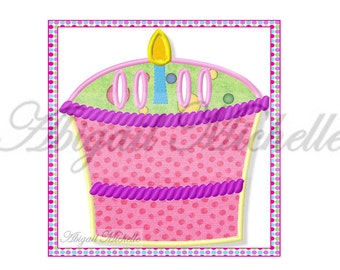 Birthday Cake Banner Add On - 3 Sizes, Machine Embroidery