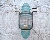 Nautical Vintage Turquoise Insulator Lantern, Candle Holder