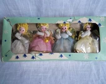 Vintage Japan Shiny Brite Christmas Angel Ornaments Tulle Chenille Foil Fabric Glitter Original Box