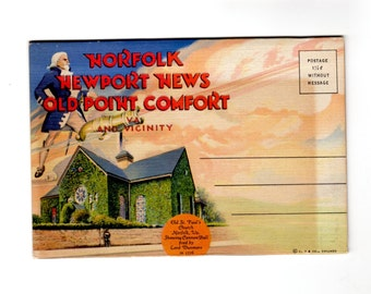 Vintage Norfolk, Newport News, and Old Point Comfort Virginia Postcard Souvenir Folder