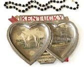 Vintage Souvenir Kentucky Metal Heart Ashtray