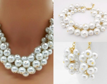 Chunky Pearl Jewelry Set Necklace, Bracelet and Earrings, White Pearl, Gold Statement, Pearl Bridal Jewelry Set