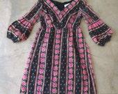 60s 70s Vintage Floral Hippie Mod Floral Dress Bishop Sleeve