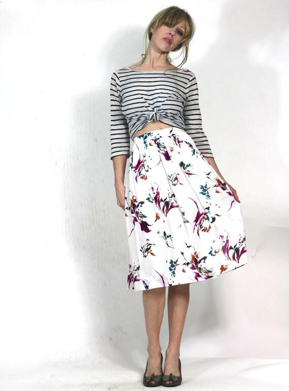 Painterly Print Vintage 80s Skirt Abstract Skirt Bohemian Pleat Skirt xs s