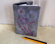 removable felted  embroidered book cover  felted embroidered notebook sketchbook covered notebook shades of grey removable cover