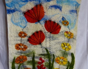 felted wallhanging of stylised flowers wall art wool picture felt picture wall decor felted wall art embroidered felt wall hanging reds oran