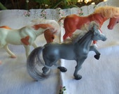 Set of 3 Plastic Horses. Hard Plastic and Synthetic Mane and Tail. Chestnut, Blue Roan and Pinto