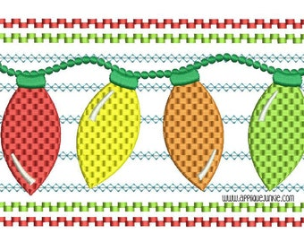 Faux Smocked Christmas Lights  Embroidery Design