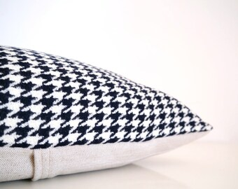Decorative pillow: houndstooth pillow in luxury Italian wool, black and white houndstooth check, mid century modern pillow cover