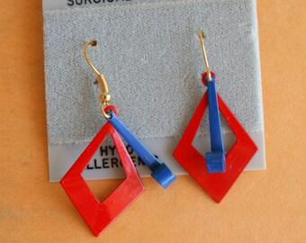 1980s Nautical Earrings...earrings. blue. retro. kitsch. glam earrings. indie. urban. aztec. metal. dangly. pierced ears. 1980s glam. folk
