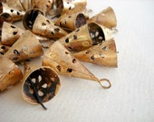 100 Golden Colored Hand Made Conical Bells with Flower Cut Design for Wind Chimes, Craft,  Altered Art -with Jute Rope - DIY - MV133