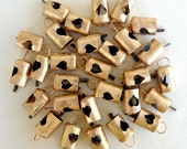 25 Unique Golden Colored Hand Made Heart Cut Cow Bells for Wind Chimes, Craft, Art -with Jute Rope - DIY - MV132