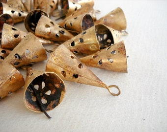 100 Golden Colored Hand Made Conical Bells with design cut in Rough Look for Wind Chimes, Altered Art -with Jute Rope - DIY - MV151