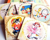 Mother Goose Note Card Set - Nursery Rhyme Puss In Boots Cat Fiddle Cow Moon Dish Spoon Mary Lamb Three Pigs - 6 Sm Square Greeting Cards