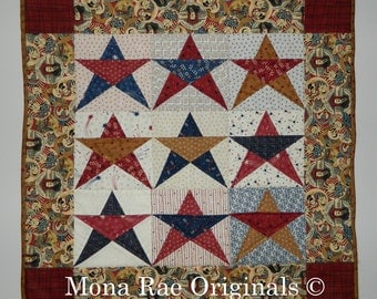 Art Wall Hanging ~ Patriotic Stars ~ Fourth of July, Veterans Day Gift ~ Nine Star in Red, White, Gold and Blue ~ 27 Inches Square