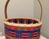 Reserved for katty1895 - Handmade Large Easter Basket - Green, Orange and Blue