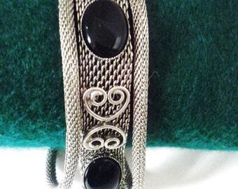 Vintage CELEBRITY NY Unusual 3 Strand Black Onyx Silver Mesh Bracelet