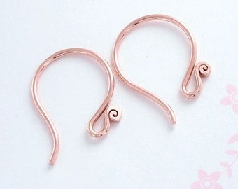 2 pairs of Karen hill tribe Rose Gold Vermeil Style Earwires 17mm.#20. :pg0043