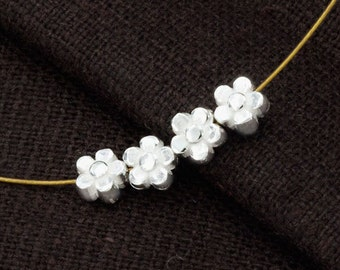 4 of 925 Sterling Silve Little Flower Beads 5mm. :th2462