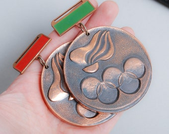 Set of 2 Vintage copper plated metal medals, pendants  Summer Olympic game in Russia