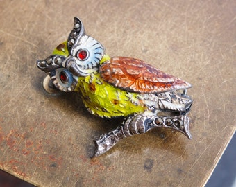 Vintage small sterling silver brooch with glass rhinestones and enamel, badge pin, owl