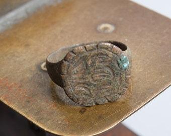 Antique  bronze brass signed ancient  ring. Original dark patina.